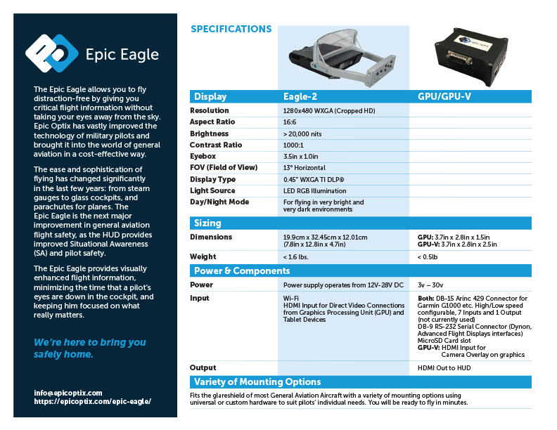 Epic Optix Sell Sheet (Back)
